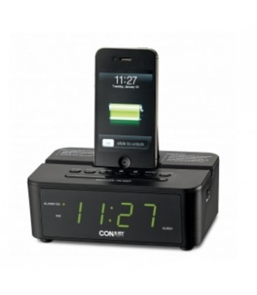 CRD500 CONAIR CLOCK RADIO W/ ipod/iPhone/iPad Dock Black